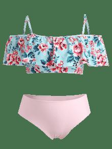 9e1c15a181cd2 65% OFF  2019 Flounce Plus Size High Waisted Floral Bikini In BABY ...