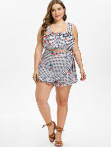 8294cae210f853 14% OFF  2019 Plus Size Checked Floral Crop Top In MULTI