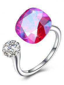 خمر كريستال حجر الراين خاتم فضة الكفة - وردة حمراء