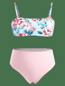 Ligero Alto Bikini Talla 1x Con Grande Corte Floral Celeste 00qrU7