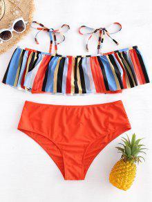 Bikini A Rayas Con Volantes Y Cuello Redondo - Multicolor L