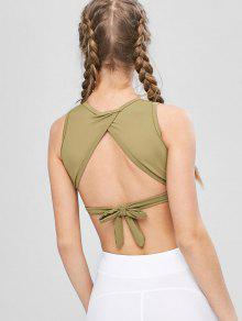 c90510683d5 39% OFF] 2019 Tie Back High Neck Wrap Sports Bra In ARMY GREEN | ZAFUL