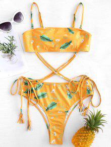 ورقة طباعة الذاتي التعادل العصابة ملابس السباحة - خردل M