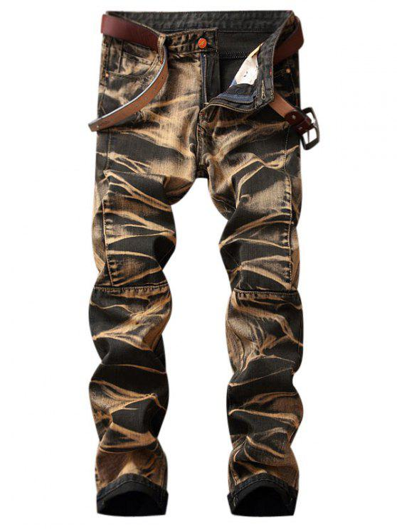 Jeans del piedino diritto del tessuto - Terroso 34