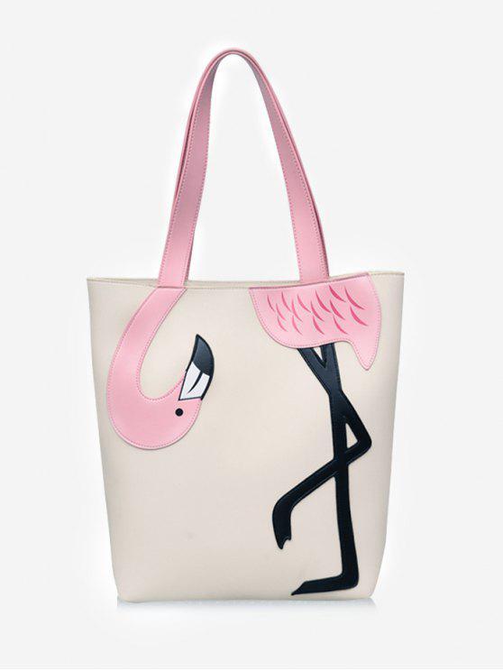 Chic Outdoor Flamingo Verschönerte Farbblock Umhängetasche - Beige