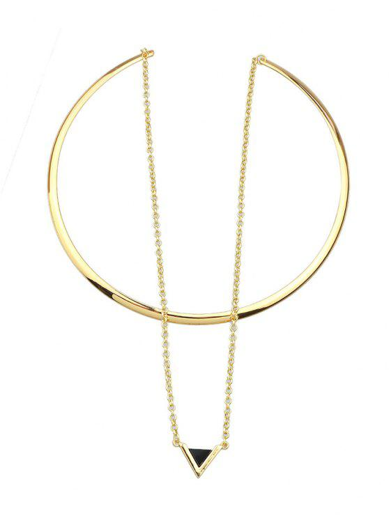 best Triangle Pendant Choker Cuff Necklace - GOLD