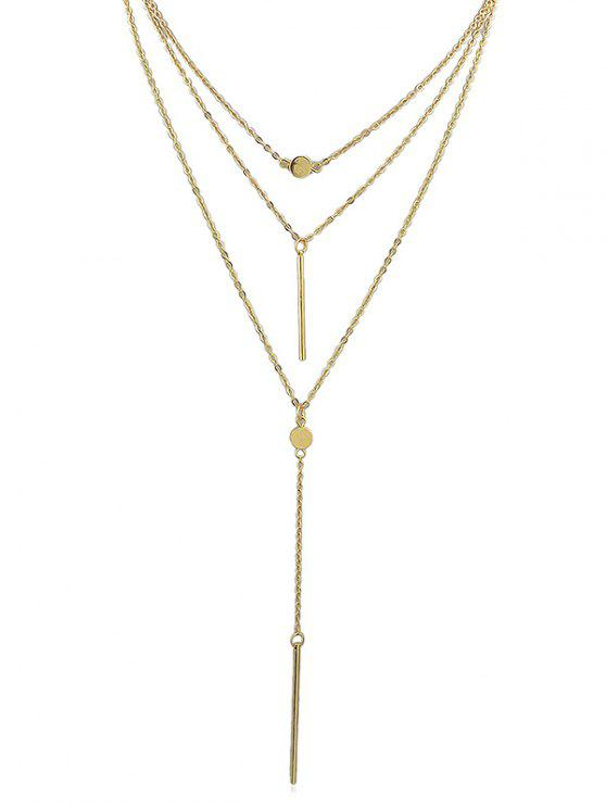 online Pendant Decoration Layered Chain Necklace - GOLD