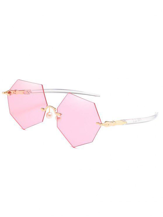 lady Anti Fatigue Irregular Rimless Lens Pearl Sunglasses - LIGHT PINK