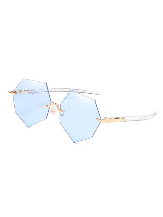 hot Anti Fatigue Irregular Rimless Lens Pearl Sunglasses - CRYSTAL BLUE