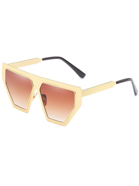 outfits Anti Fatigue Metal Frame Irregular Oversized Sunglasses - CAMEL BROWN