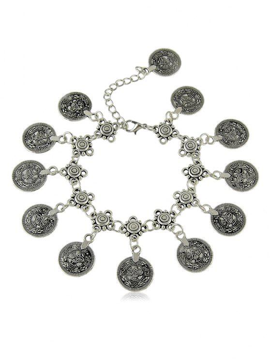 women Round Shape Print Pendant Chain Anklet - SILVER