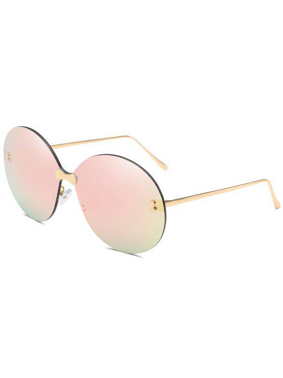 Anti-UV randlose übergroße runde Sonnenbrille - Schwein Rosa
