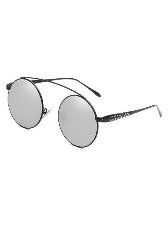 online Rhinestone Inlaid Crossbar Circle Sunglasses - PLATINUM