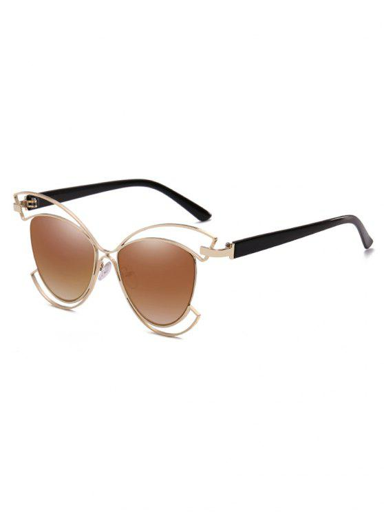 Metal Hollow Out Frame novedad gafas de sol - Oso Café