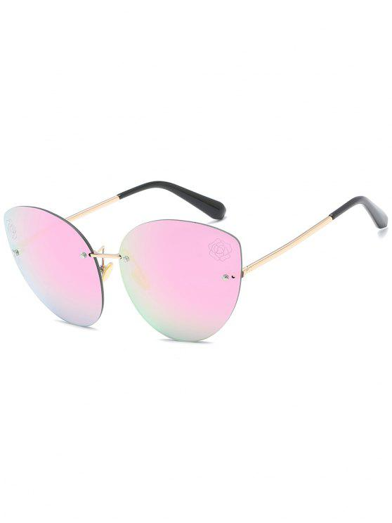 buy Stylish Floral Rimless Sun Shades Sunglasses - HOT PINK