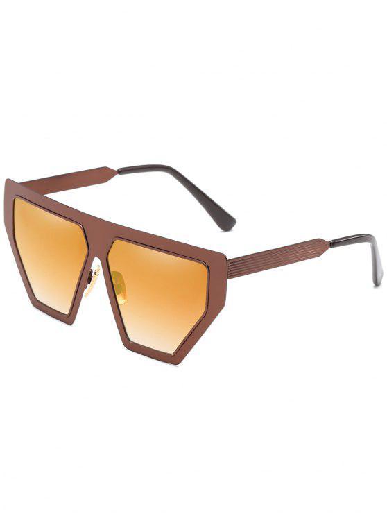 women Anti Fatigue Metal Frame Irregular Oversized Sunglasses - COFFEE