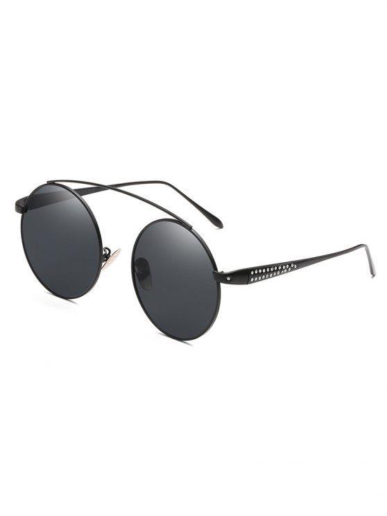 5dc008161 13% OFF] 2019 Rhinestone Inlaid Crossbar Circle Sunglasses In BLACK ...