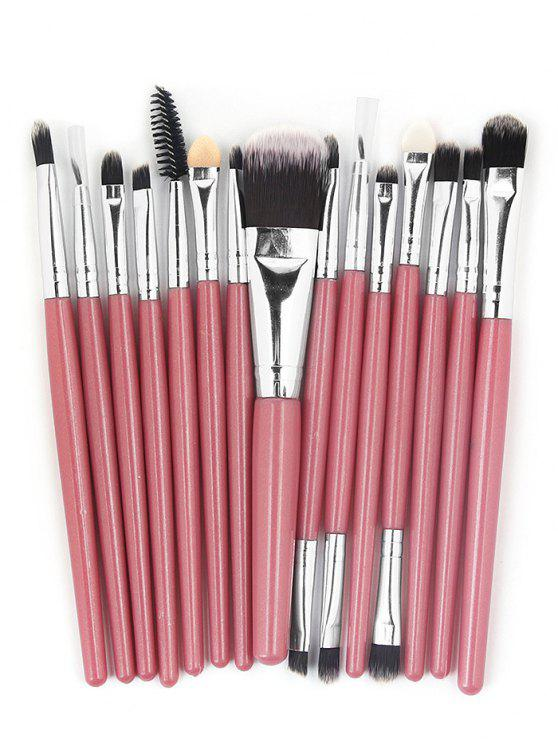 fancy 15 Pcs Ultra Soft Fiber Hair Foundation Eyeshadow Eyebrow Cosmetic Brush Kit - LIGHT PINK