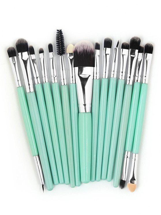 sale 15 Pcs Ultra Soft Fiber Hair Foundation Eyeshadow Eyebrow Cosmetic Brush Kit - MACAW BLUE GREEN
