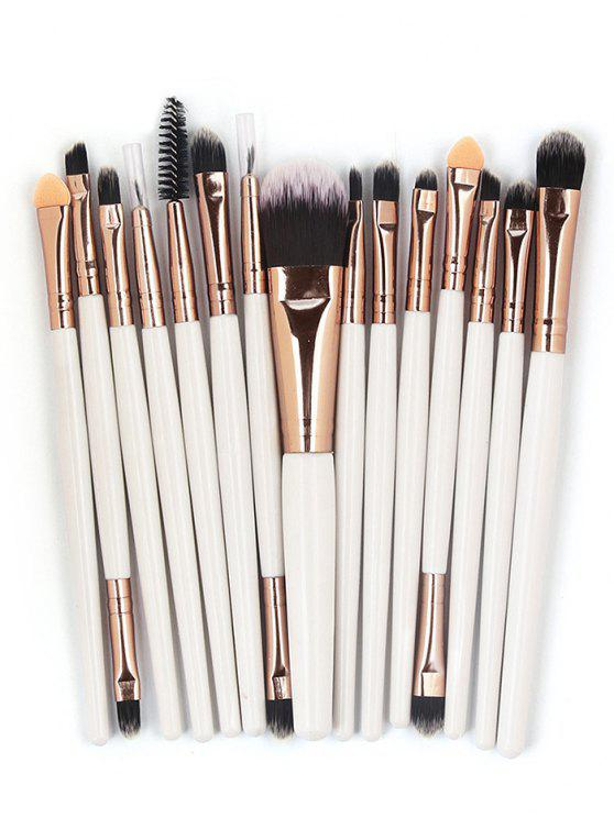 affordable 15 Pcs Ultra Soft Fiber Hair Foundation Eyeshadow Eyebrow Cosmetic Brush Kit - COFFEE