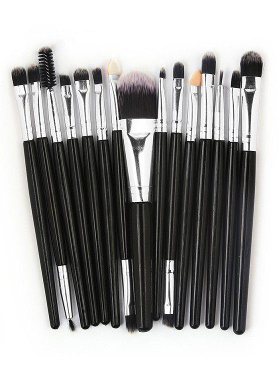 womens 15 Pcs Ultra Soft Fiber Hair Foundation Eyeshadow Eyebrow Cosmetic Brush Kit - BLACK