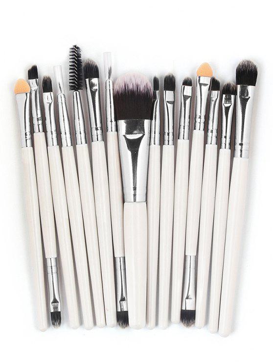 best 15 Pcs Ultra Soft Fiber Hair Foundation Eyeshadow Eyebrow Cosmetic Brush Kit - WHITE