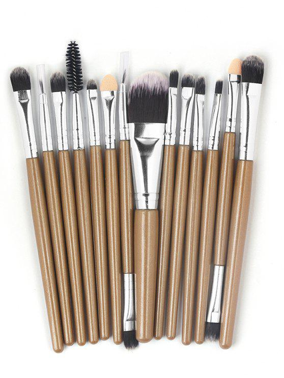 online 15 Pcs Ultra Soft Fiber Hair Foundation Eyeshadow Eyebrow Cosmetic Brush Kit - BROWN