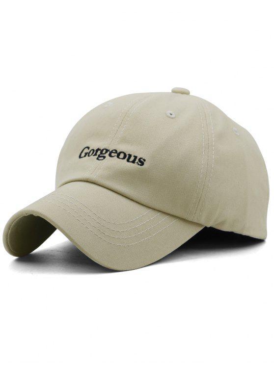 fashion Gorgeous Embroidery Adjustable Trucker Hat - LIGHT KHAKI