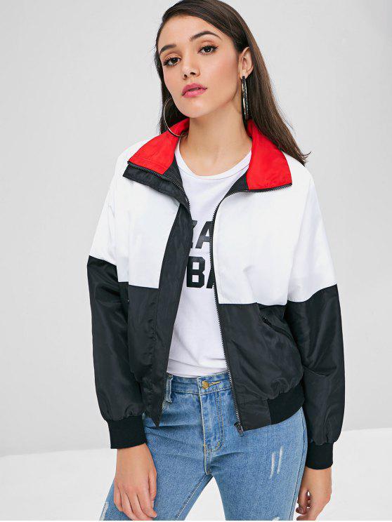 Jaqueta de Contraste Zip Frontal - Multi L