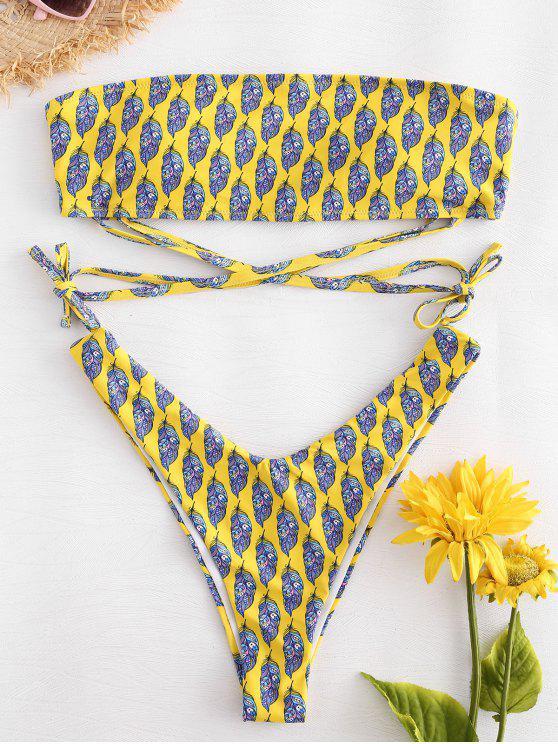 new Feather Print Tie Bandeau Bikini Set - YELLOW S