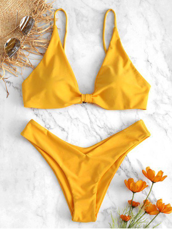 ladies High Leg Knot Bikini Set - BRIGHT YELLOW M