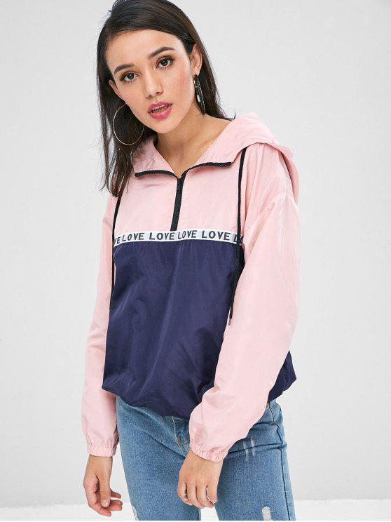 online Love Half Zip Windbreaker Hoodie - MULTI L