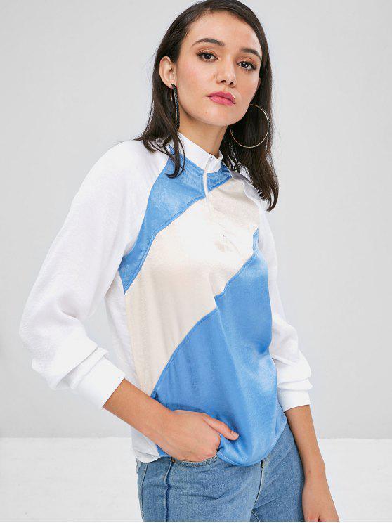 trendy Contrast Half Zip Raglan Sleeve Sweatshirt - MULTI S