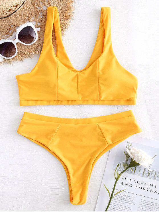 Gepolsterter Hohe Schlitz Bikini Set - Helles Gelb S