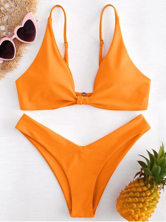 Hohes Bein Knoten Bikini Set - Orange L