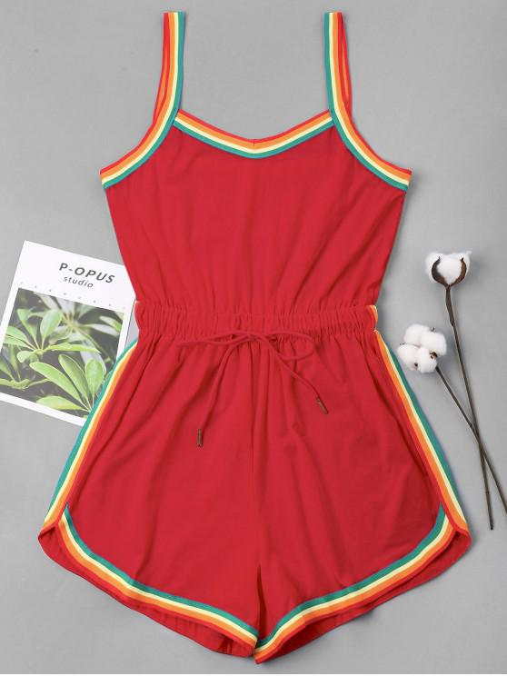 hot Rainbow Trim Drawstring Cami Romper - LOVE RED S