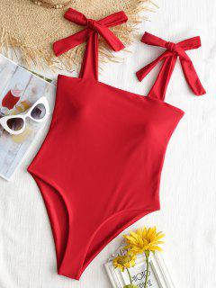 Bowknot Straps High Cut Swimsuit - Red M