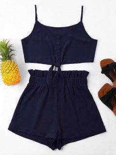 High Waisted Knot Cami Shorts Set - Midnight Blue L
