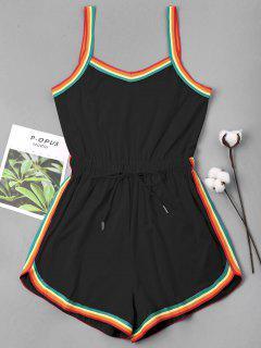 Rainbow Trim Drawstring Cami Romper - Negro S