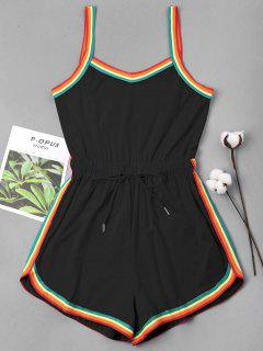 Rainbow Trim Drawstring Cami Romper - Black L