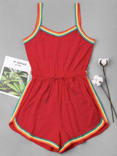 Rainbow Trim Drawstring Cami Romper - Love Red S