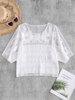 Mesh Panel Batwing Top - White