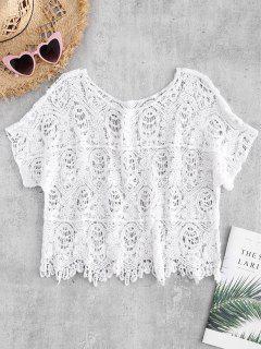 Haut En Crochet Avec Bordures Festonnées - Blanc