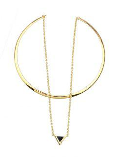 Triangle Pendant Choker Cuff Necklace - Gold