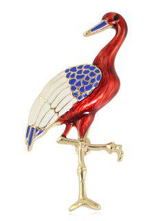 Bird Design Decoration Brooch - Red