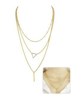 Triangle Shape Layer Pendant Necklace - Gold