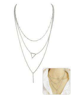 Triangle Shape Layer Pendant Necklace - Silver