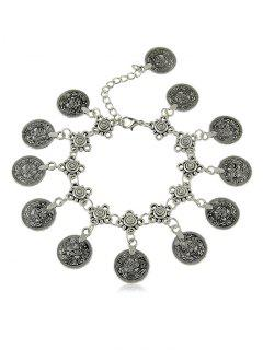 Round Shape Print Pendant Chain Anklet - Silver