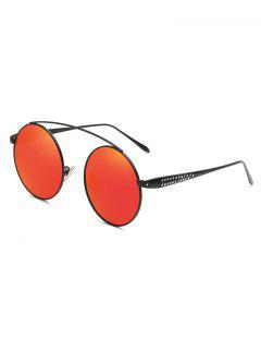 Rhinestone Inlaid Crossbar Circle Sunglasses - Red