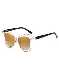Metal Hollow Out Frame Novelty Sunglasses - Orange Gold